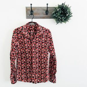 Etro Red Leaf Button Down Blouse XL